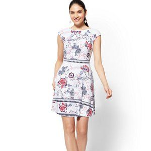 New York & Co Printed Cotton Fit and Flare Dress